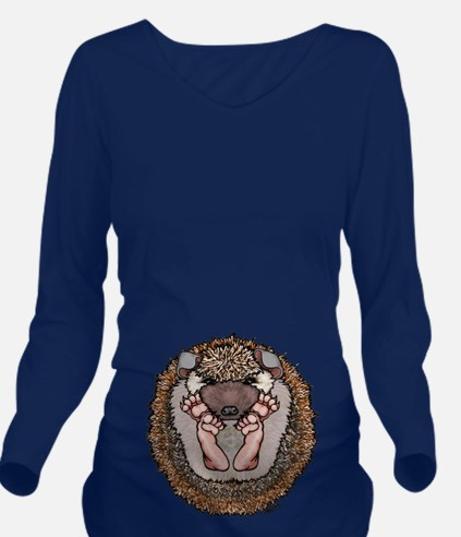 Brown Baby Hedgehog Long Sleeve Maternity T-Shirt
