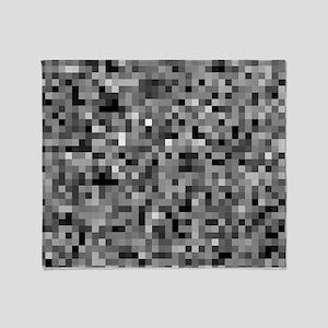 Black Pixel Mosaic Throw Blanket