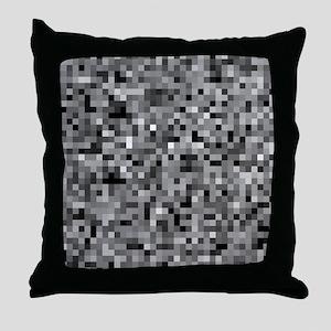 Black Pixel Mosaic Throw Pillow