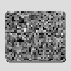 Black Pixel Mosaic Mousepad