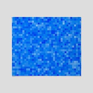 Blue Pixel Mosaic Throw Blanket