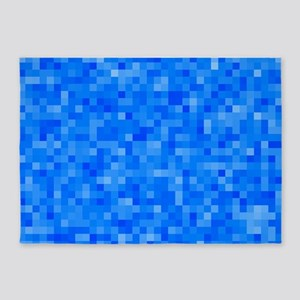 Blue Pixel Mosaic 5'x7'Area Rug