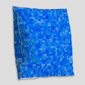 Blue Pixel Mosaic Burlap Throw Pillow