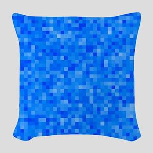 Blue Pixel Mosaic Woven Throw Pillow