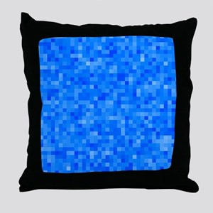 Blue Pixel Mosaic Throw Pillow