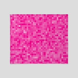 Pink Pixel Mosaic Throw Blanket