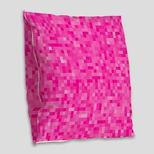 Pink Pixel Mosaic Burlap Throw Pillow