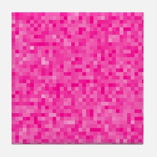 Pink Pixel Mosaic Tile Coaster
