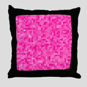Pink Pixel Mosaic Throw Pillow