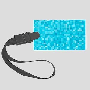 Turquoise Pixel Mosaic Large Luggage Tag