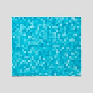 Turquoise Pixel Mosaic Throw Blanket
