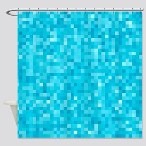 Turquoise Pixel Mosaic Shower Curtain