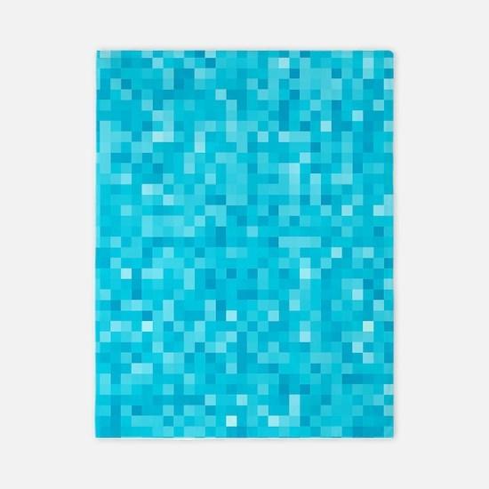 Turquoise Pixel Mosaic Twin Duvet