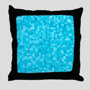 Turquoise Pixel Mosaic Throw Pillow