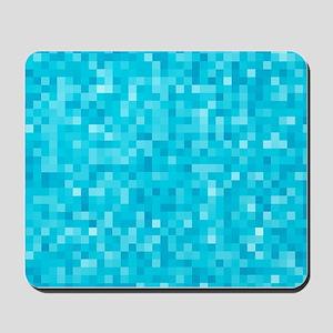 Turquoise Pixel Mosaic Mousepad