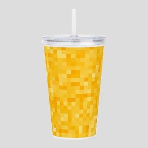 Yellow Pixel Mosaic Acrylic Double-wall Tumbler