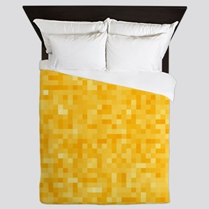 Yellow Pixel Mosaic Queen Duvet