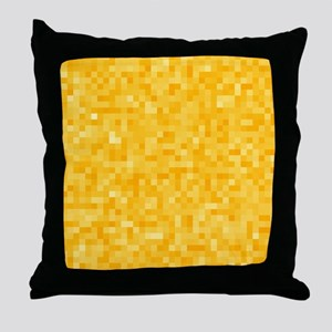 Yellow Pixel Mosaic Throw Pillow