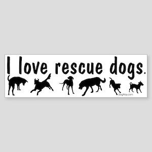 I Love Rescue Dogs Sticker (Bumper)