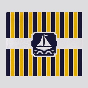 Nautical Sailboat Stripes Throw Blanket