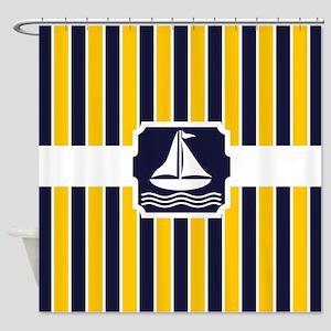 Nautical Sailboat Stripes Shower Curtain