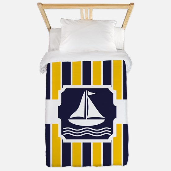 Nautical Sailboat Stripes Twin Duvet