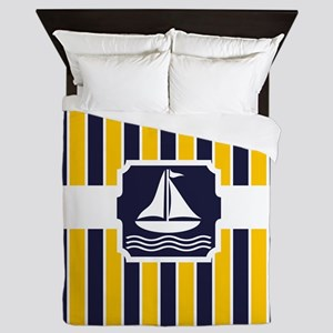 Nautical Sailboat Stripes Queen Duvet