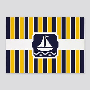 Nautical Sailboat Stripes 5'x7'Area Rug