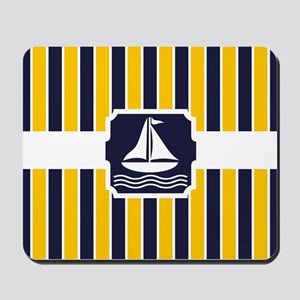 Nautical Sailboat Stripes Mousepad