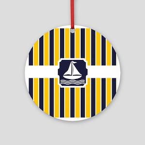 Nautical Sailboat Stripes Ornament (Round)
