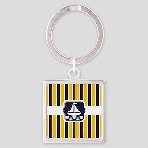 Nautical Sailboat Stripes Square Keychain