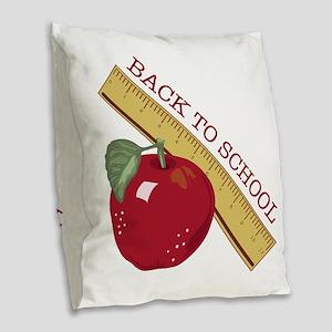 Back To School Burlap Throw Pillow