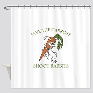 Save The Carrots Shoot Rabbits Shower Curtain