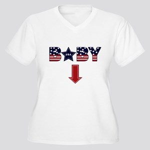 4th of July baby arrow Women's Plus Size V-Neck T-