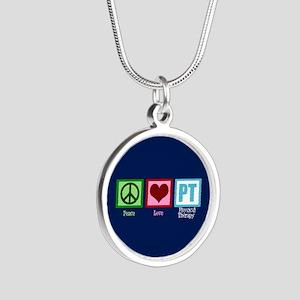 PT Blue Silver Round Necklace