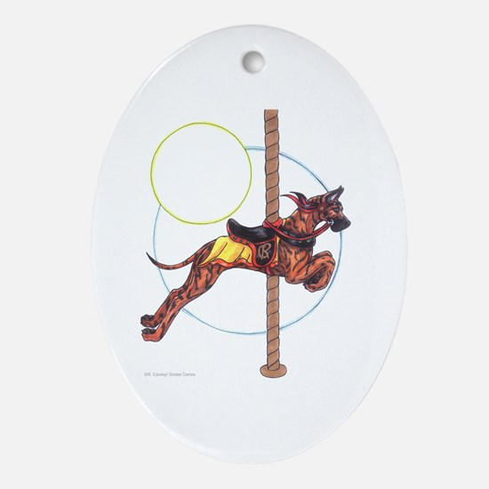 Carousel Brindle Oval Ornament