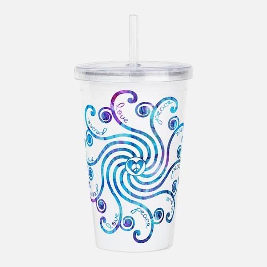 Cool Blue Peace Love Acrylic Double-wall Tumbler