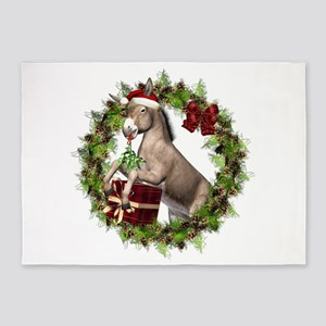 Christmas Donkey In Wreath 5'x7'area Rug