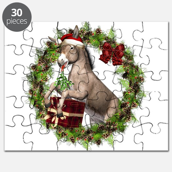 Christmas Donkey In Wreath Puzzle