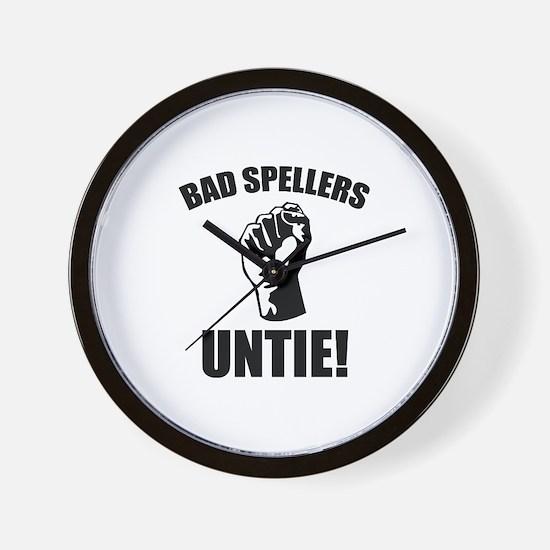 Bad Spellers Untie! Wall Clock