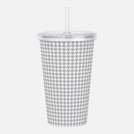 Gray and White Houndstooth Pattern Acrylic Double-