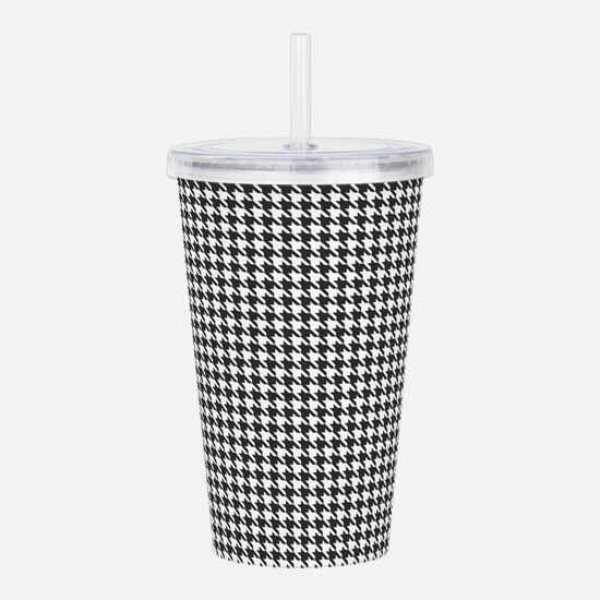 Black and White Houndstooth Pattern Acrylic Double