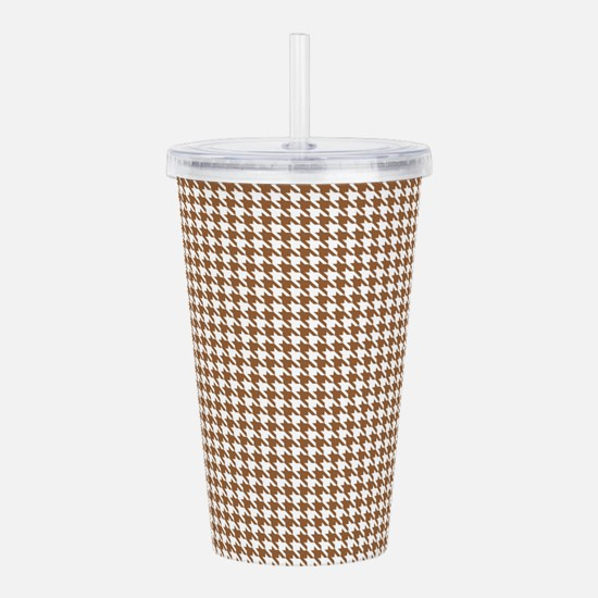 Brown and White Houndstooth Pattern Acrylic Double
