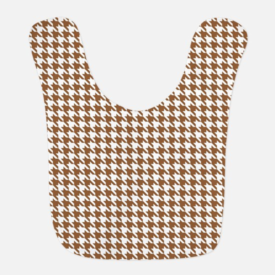 Brown and White Houndstooth Pattern Bib