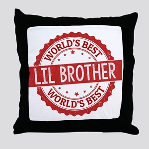 World's Best Lil Brother Throw Pillow