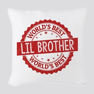 World's Best Lil Brother Woven Throw Pillow
