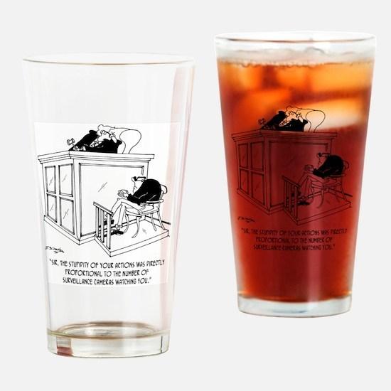 Crime Cartoon 7348 Drinking Glass