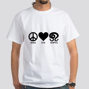 Peace Love And Snakes Men's White T-Shirt