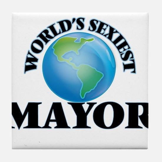World's Sexiest Mayor Tile Coaster
