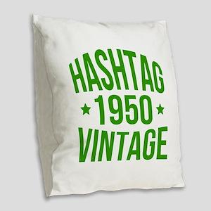 1950 Hashtag Vintage Burlap Throw Pillow